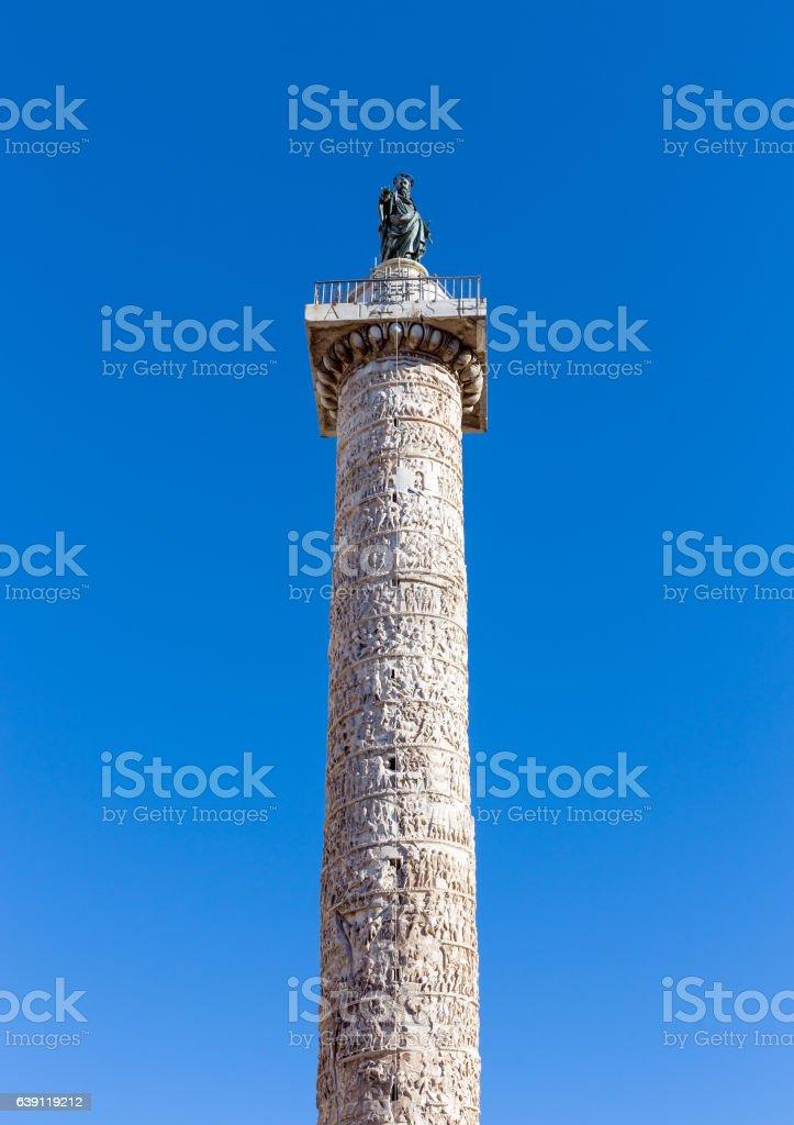 Column of Marcus Aurelius, Rome, Italy stock photo