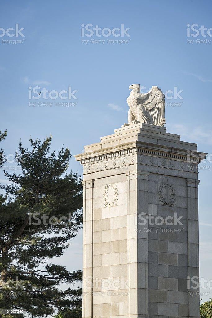 Column of the Arlington National Bridge with Copy Space stock photo