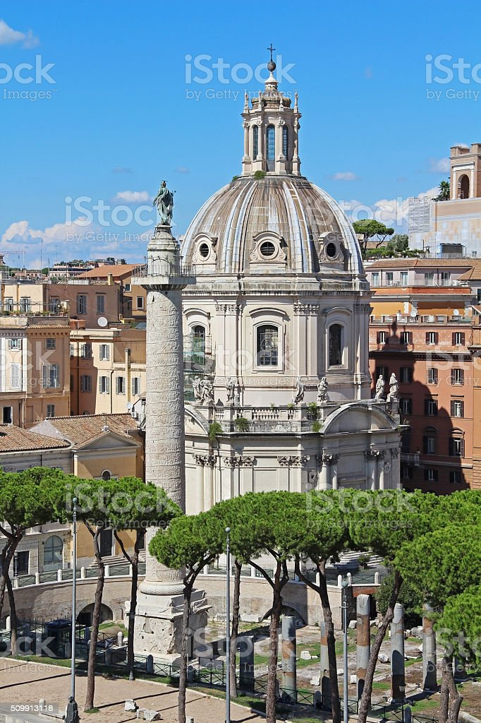 Column of Trajan and the Chiesa. Rome, Italy stock photo