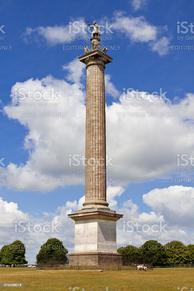 Column of Victory at Blenheim Palace, Woodstock, Oxfordshire, England, UK. stock photo