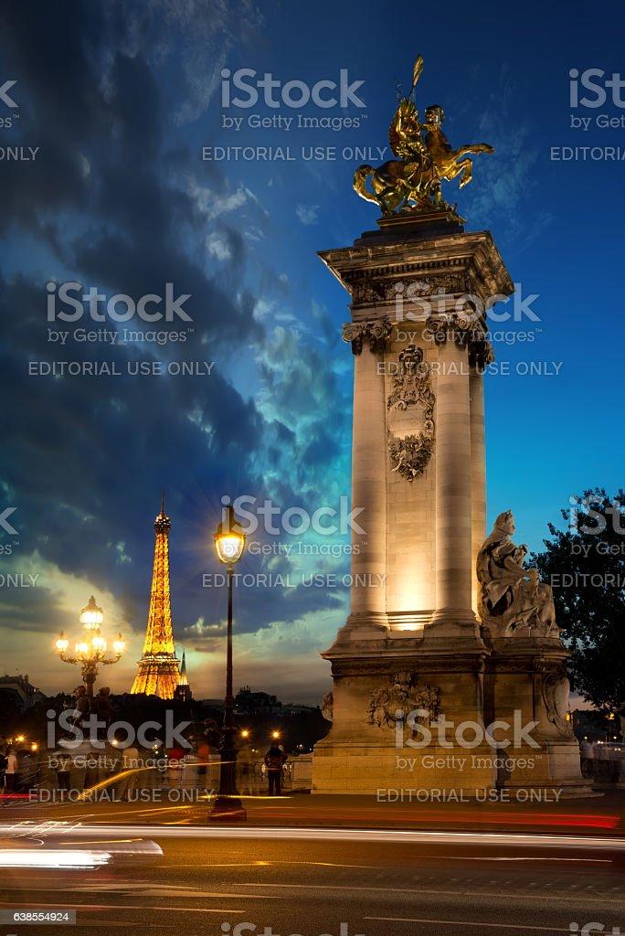Column on bridge Alexandre III stock photo