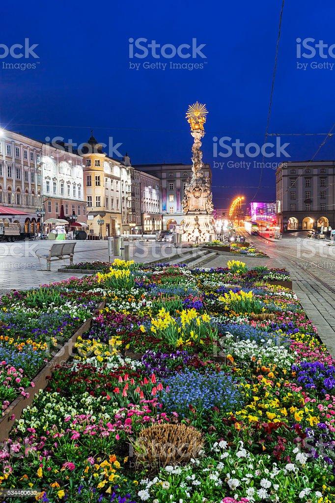 Column on Hauptplatz in Linz stock photo