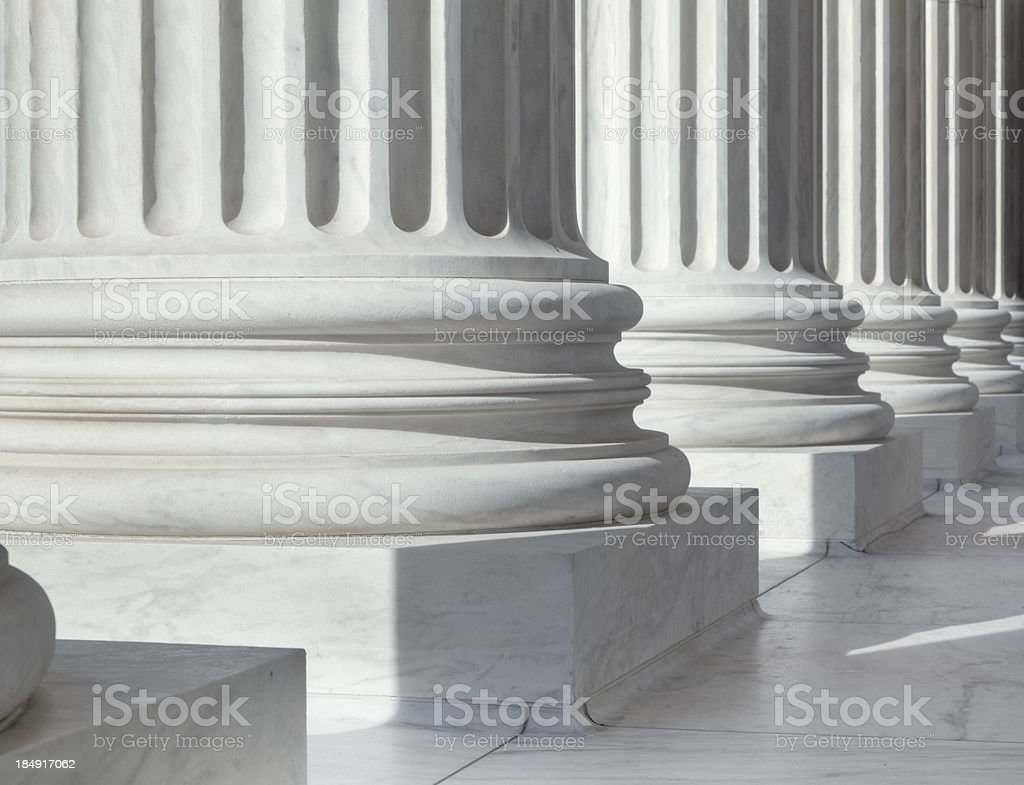 Column outside U.S. Supreme Court building stock photo