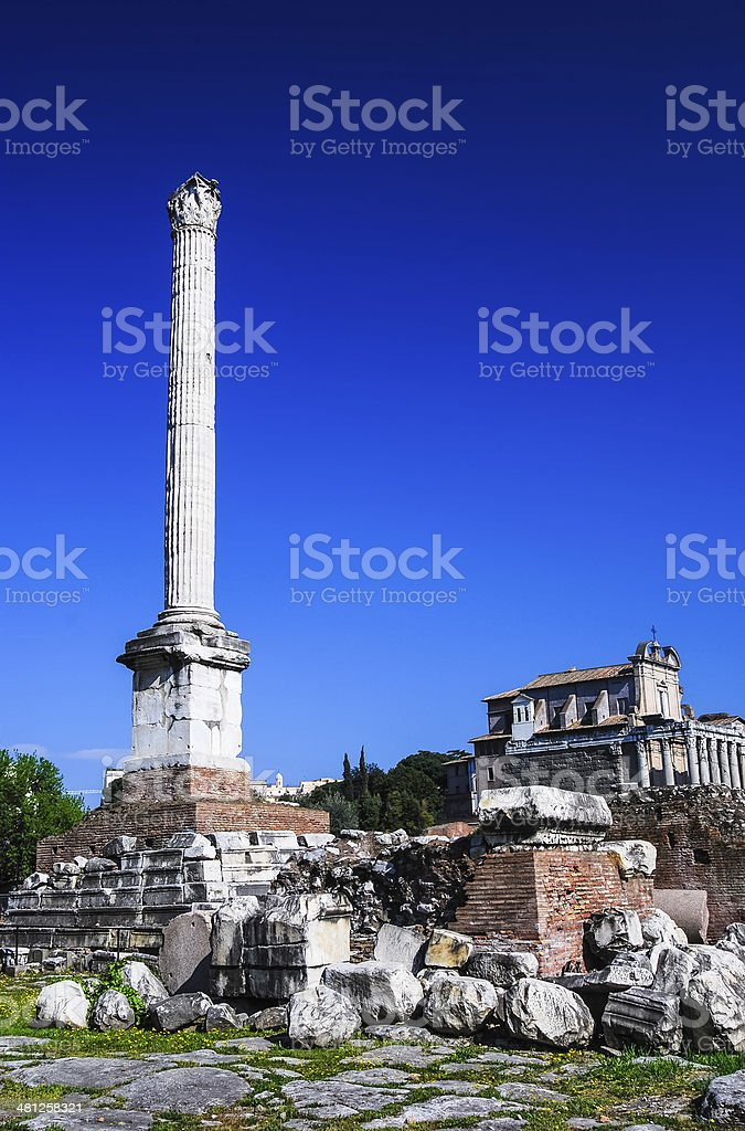 Column pf Phocas, Rome ancient ruins, Italy stock photo