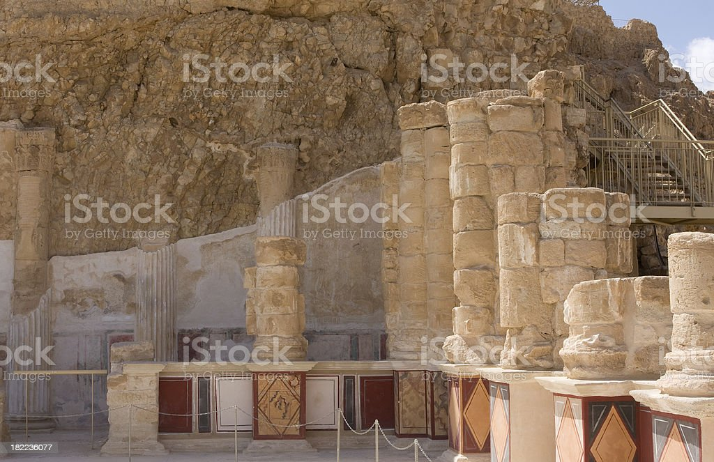 Column Ruins of Masada stock photo