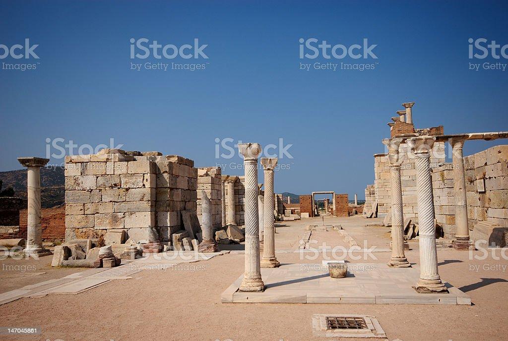 Column, Walls, Tomb of St John, Selcuk, Turkey royalty-free stock photo