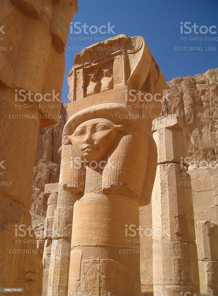 Column with goddess Hathor in Temple of Hatshepsut stock photo