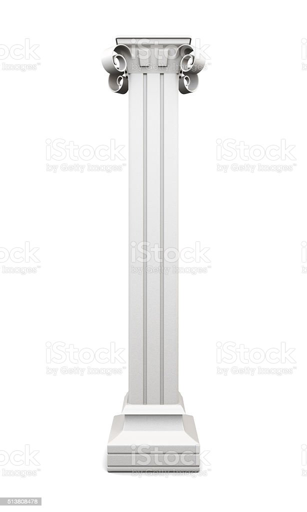 Column with pilasters isolated on white background. 3d rendering stock photo