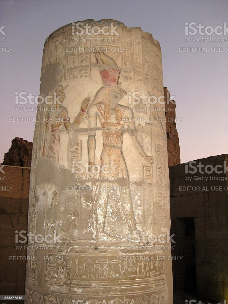 Column with reliefs in the Temple of Horus and Sobek stock photo