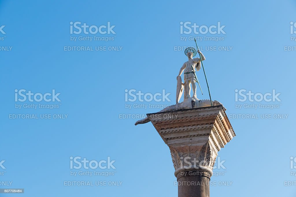 Column with Saint Theodore-Venice, Italy-part stock photo