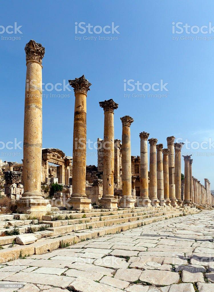 Columnaded street, Jerash stock photo
