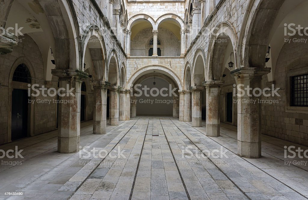Columned, arched, gothic room. stock photo