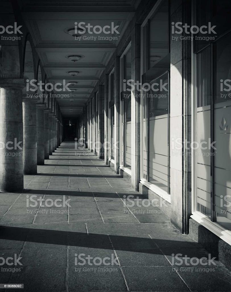 columned gallery stock photo