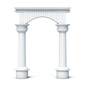 Columns and arch front view isolated on white background.