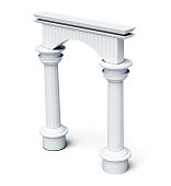 Columns and arch isolated on white background. 3d rendering