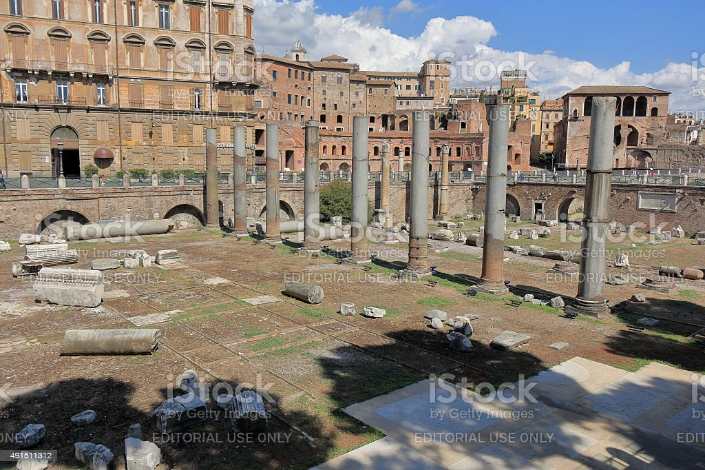 Columns and buildings of Trajan Forum in Rome, Italy stock photo