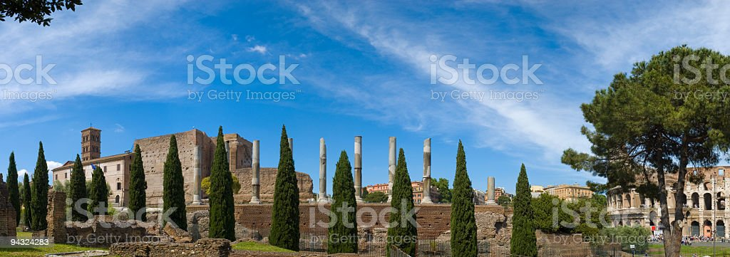 Columns and Coliseum, Rome royalty-free stock photo