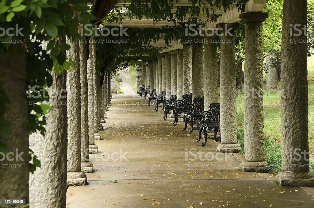 Columns and Ivy in Maymont Gardens, Richmond, Virginia royalty-free stock photo