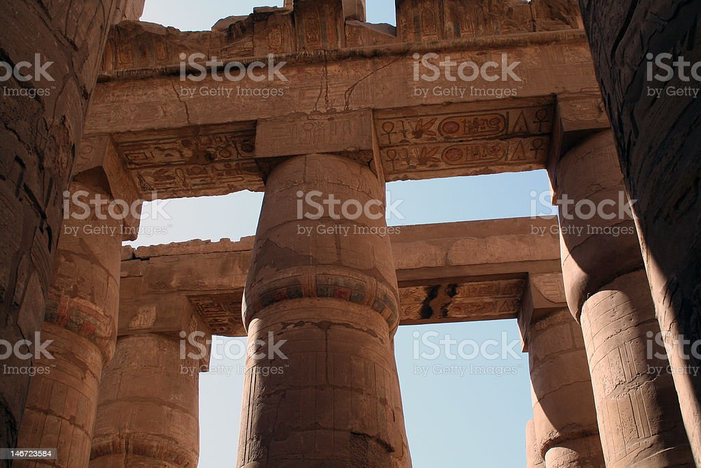 Columns and Pillars at Karnak Temple stock photo
