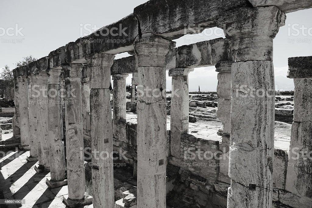 Columns And Ruins Of Hyerapolis Near Pamukkale, Turkey stock photo