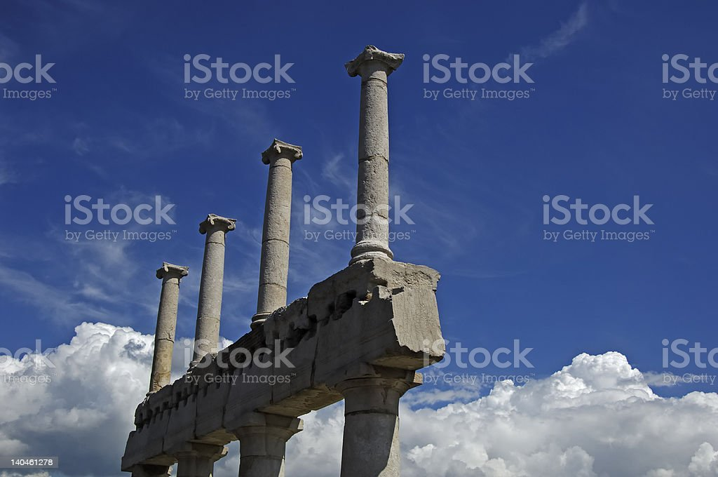columns and white clouds royalty-free stock photo