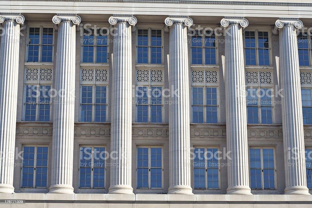 Columns and Windows, Federal Building Washington DC royalty-free stock photo
