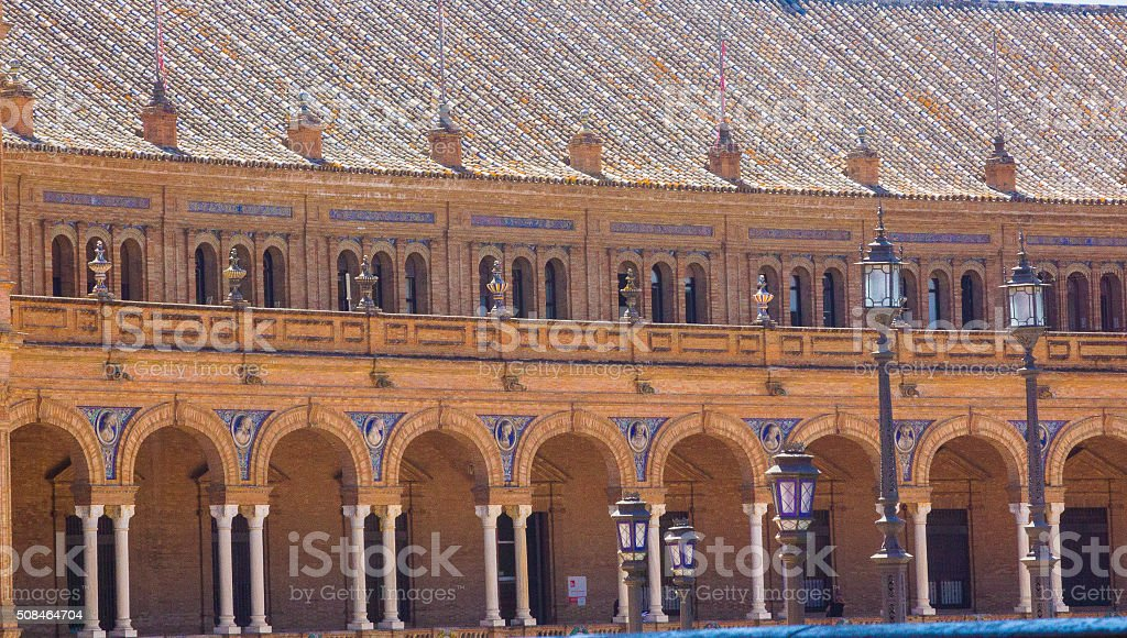 columns arches near the famous Plaza of Spain Seville stock photo