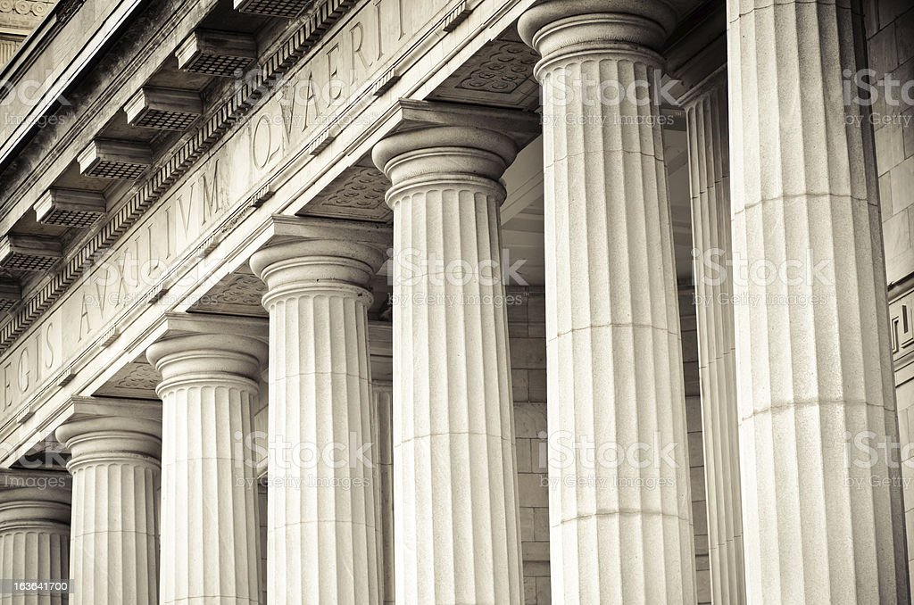 Columns at ?difice Ernest-Cormier in Montreal, Quebec stock photo