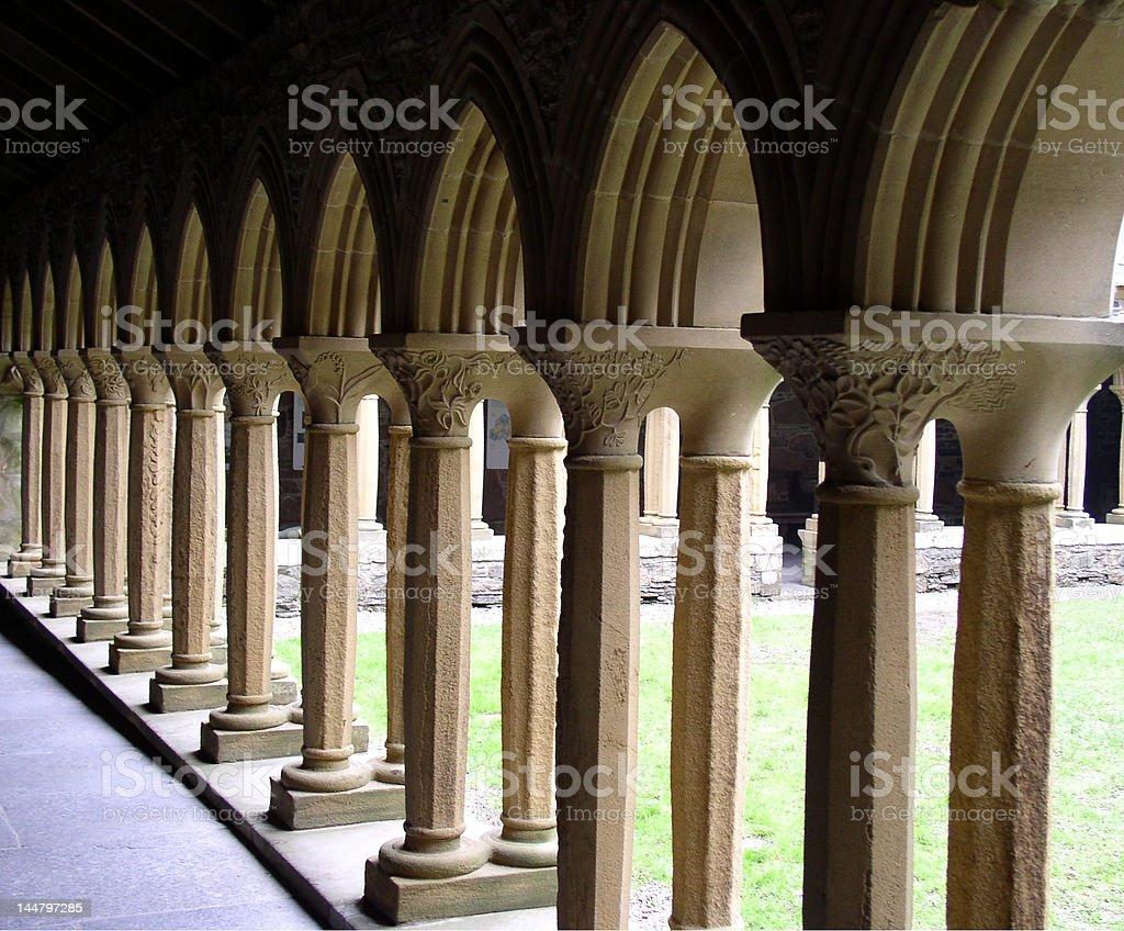 Columns at Iona Abbey royalty-free stock photo