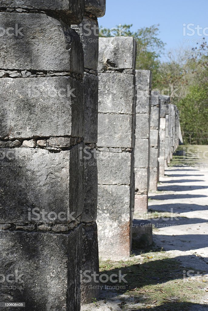 Columns at Mayan Ruins royalty-free stock photo