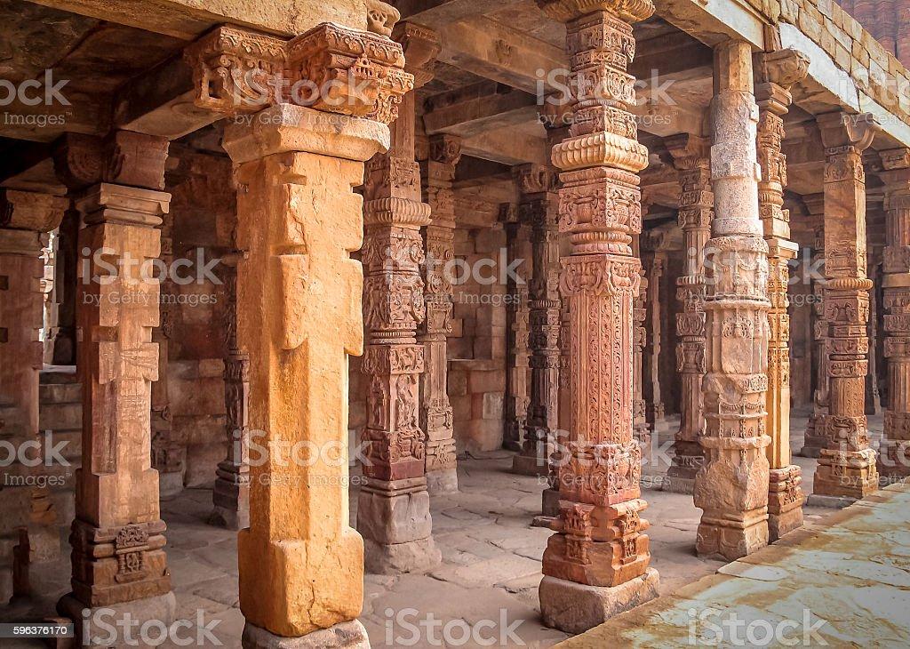 Columns at Qutb Minar complex, New Delhi, India stock photo