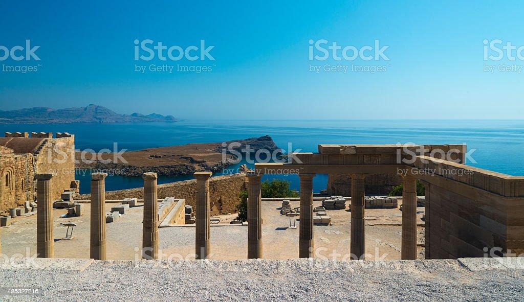 Columns at the Acropolis of Lindos, Rhodes stock photo