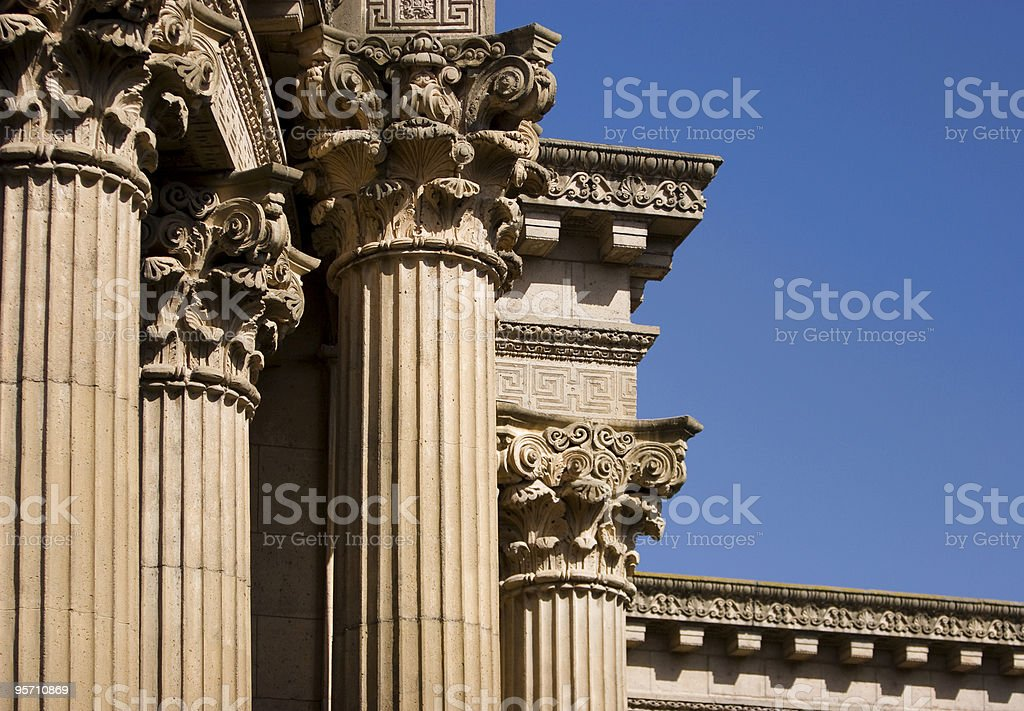 Columns at the Palace of Fine Arts royalty-free stock photo