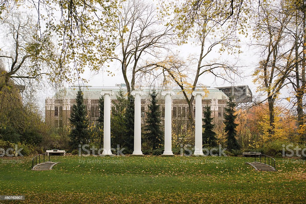 Columns at the University of Washington in Seattle royalty-free stock photo