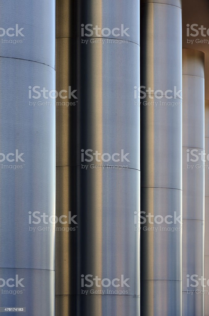 columns clad in stainless steel stock photo