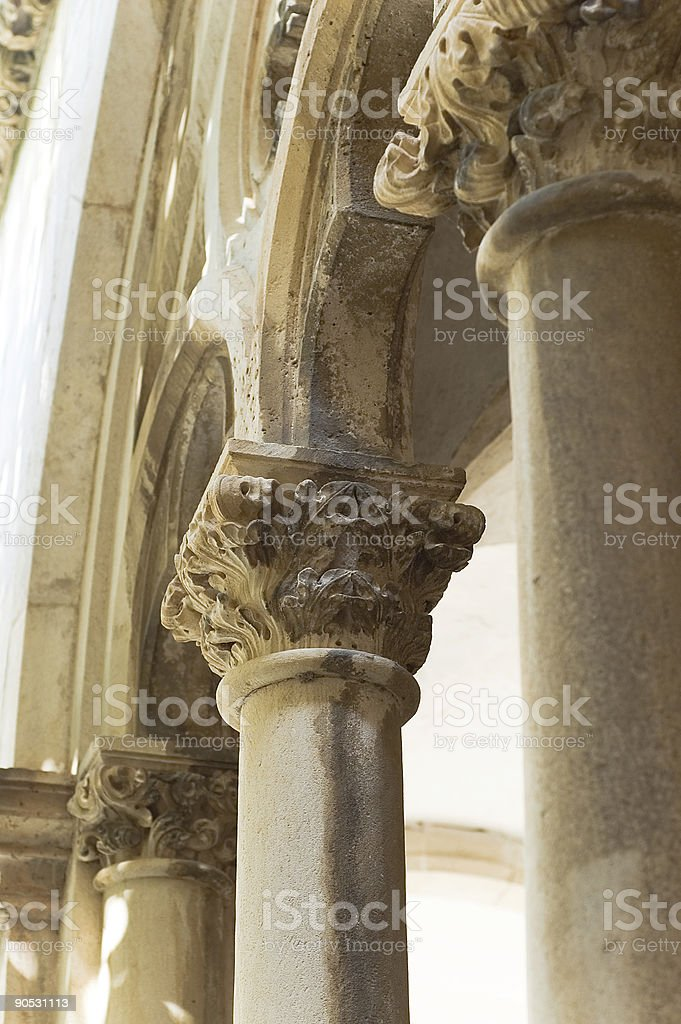 columns , cloister of the Dominican monastery stock photo