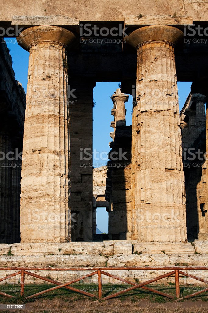 Columns from roman and greek temple in Italy. stock photo