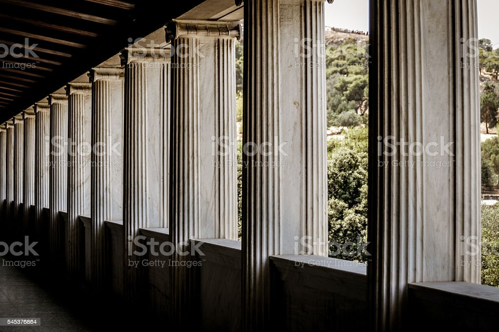 Columns in a perfect row stock photo