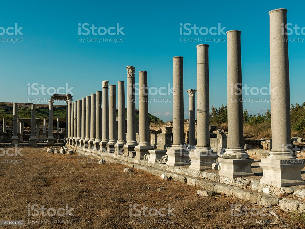 Columns in ancient city stock photo