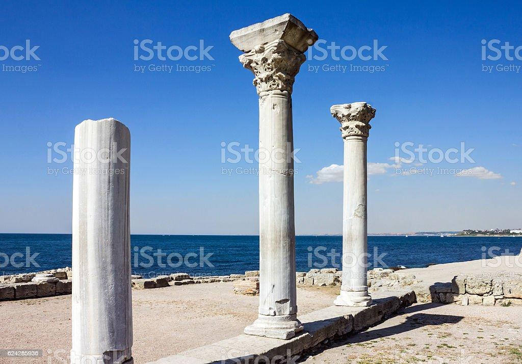 Columns in ancient ruined Greek town Chersonese, Crimea, Russia stock photo