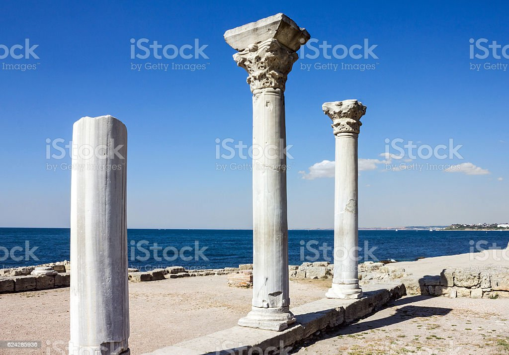 Columns in ancient ruined Greek town Chersonese, Crimea, Russia stock photo