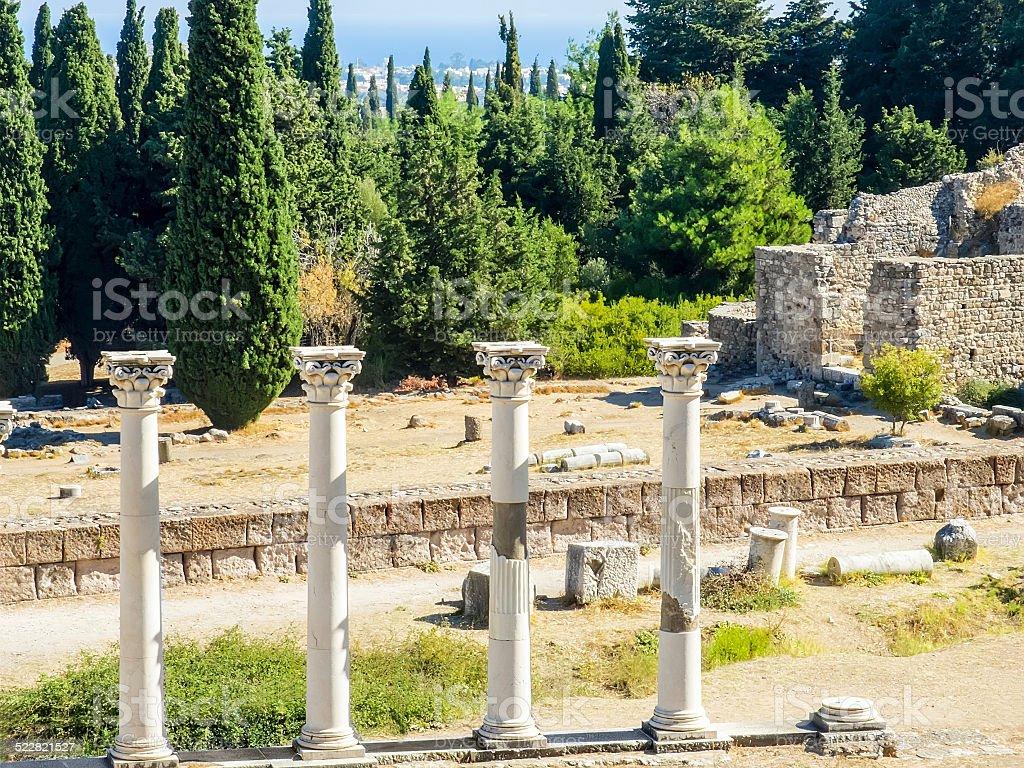 Columns in Asklepion stock photo