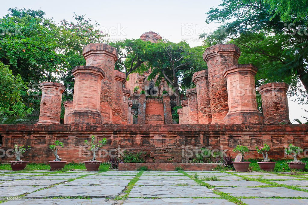 Columns in front of the Po Nagar Cham Towers, Vietnam stock photo