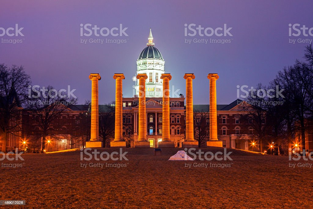 Columns in front of University of Missouri building stock photo
