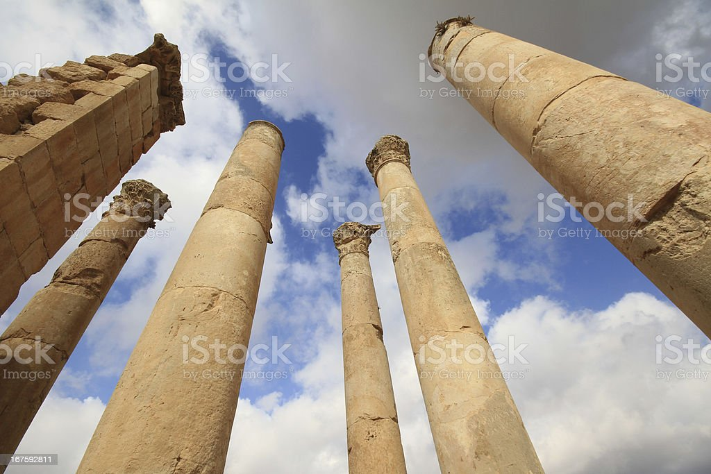Columns in Jerash stock photo