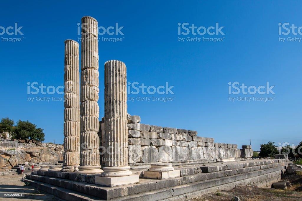 Columns in Letoon ancient city, Mugla stock photo