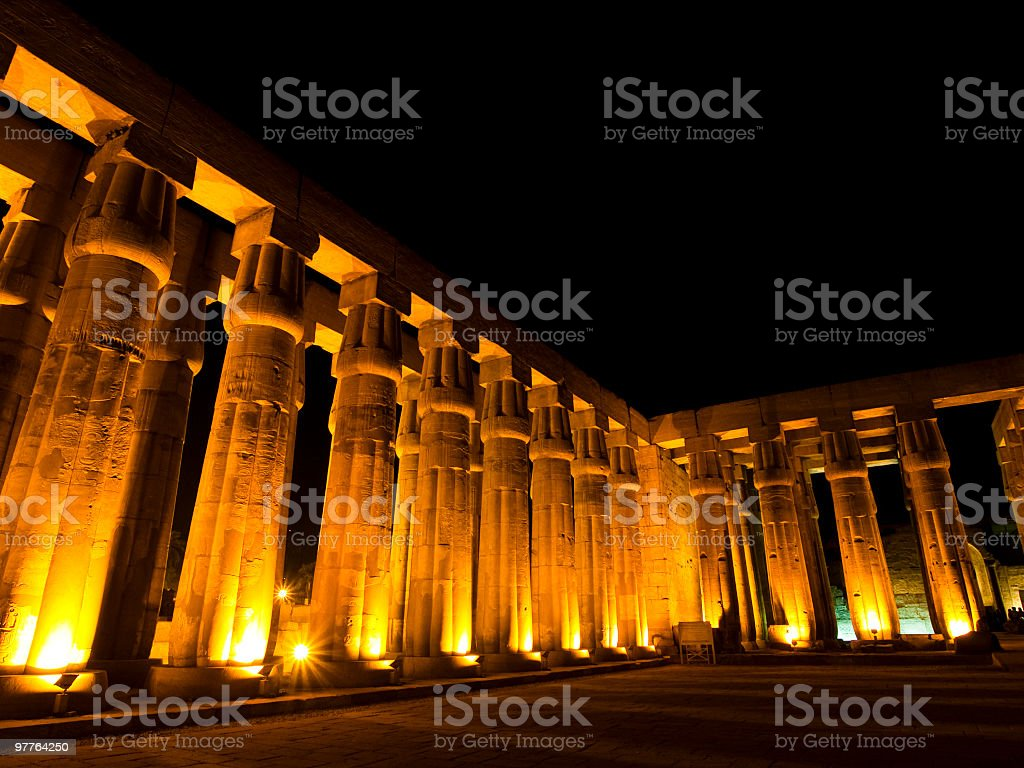 columns in Luxor temple at night royalty-free stock photo