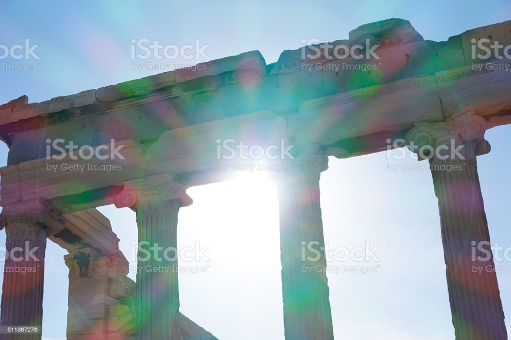 Columns in Panthenon at Acropolis Hill, Athens, Greece-sunlight stock photo