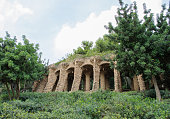 Columns in Park Guell designed by Antoni Gaudi in Barcelona