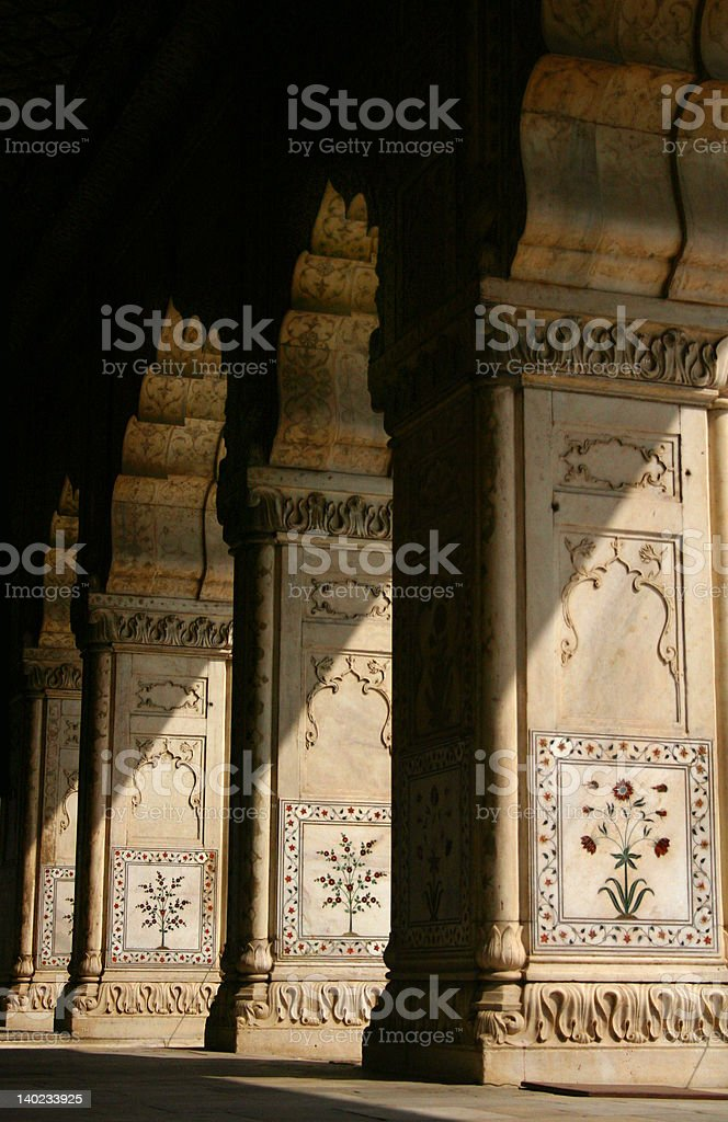 Columns in sunlight, Red Fort, Deli, India royalty-free stock photo